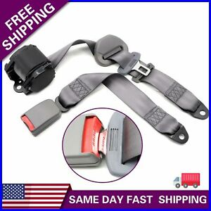 Universal 3 Point Retractable Seat Belts Car Truck Adjustable Retractable Gray