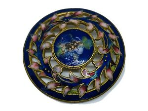 Antique French Champleve Enamel Floral Motif On Pierced Guilted Brass Button