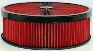 14 X 4 Black Round Red High Flow Thru Washable Air Cleaner Drop Base 350 Sbc