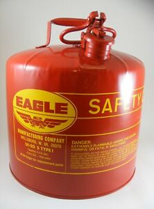 Eagle 5 gallon Metal Gasoline Safety Can Red Gas Fuel Can New Old Stock