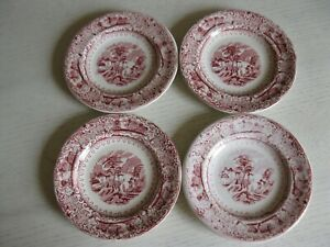Four Antique Red And White Transfer Ware Small Plates Maybe Dolls Childs