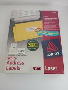 Avery White Address Labels 1 2 62 1 2 5 8ths Qty 3000 Jam free Labels