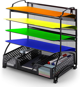 Mesh Notebook Letter Tray 5 Tier Desk Organizer For Office Supplies File Folders