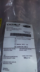 Vwr Micro centrifuge Tubes W attached Caps 20170 293 65ml Opened Bag 1000
