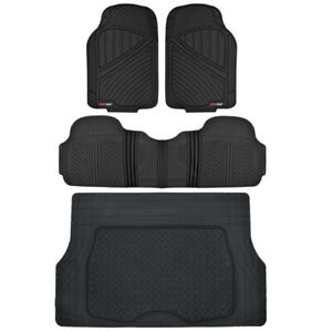 4pc Black Flextough All Weather Hd Rubber Mats Package Floor Liners Cargo Mat