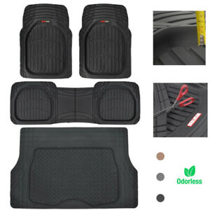 Motor Trend Car Floor Mats Cargo Trunk Rubber Protection Full Set Heavy Duty
