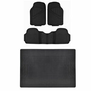 Black 4pc Rubber Floor Mats For Car Suv Heavy Duty All Weather Liner Bpa Free