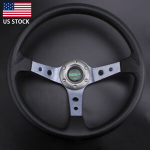 Universal Steering Wheel 350mm 14 6 Bolt Racing Car Horn Button 95mm Deep Dish