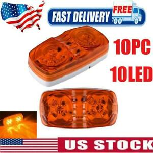 10pc Car 10 Led Amber Police Strobe Flash Light Warning Lamp Kit Dash Emergency