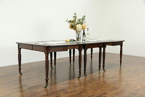 Sheraton 1825 Antique Mahogany 3 Part Banquet Table Pair Of Consoles 33779