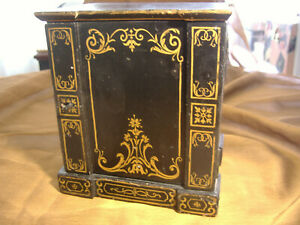 Wonderful Victorian Hand Painted Black And Gold Exterior Jewel Box W Drawers