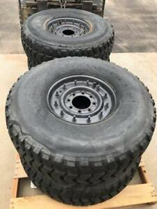 02 06 Hummer H1 16 5in 8 Lug Wheels And Goodyear Wrangler Tires 37x12 50r16 5lt