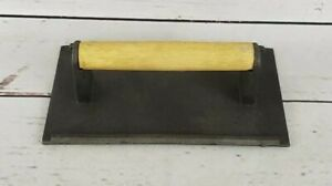 8 X 4 Cast Iron Steak Weight Wood Handle Restaurant Commercial Grade