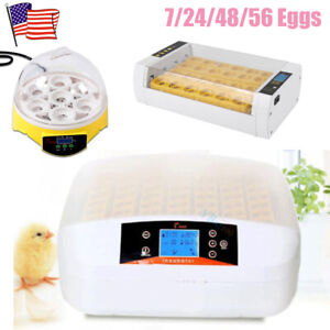 Digital 7 24 48 56 Egg Incubator Hatcher Automatic Turning Chicken Temperature
