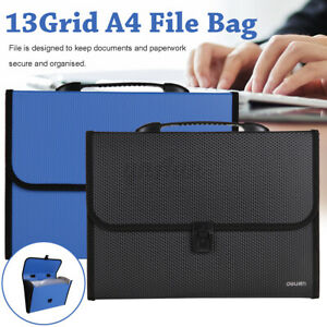 File Organizer Accordion File Folder 13 Pockets Grids Plastic Stand Bag New D