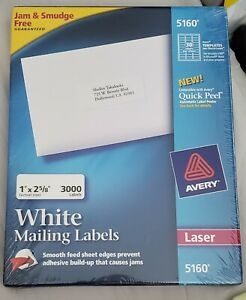 Avery 5160 Easy Peel Address Labels White 1 X 2 5 8 30 Labels sheet 100 St