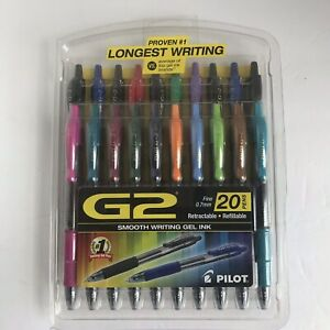 Pilot G2 Premium Retractable Gel Pen Fine 0 7mm Assorted Ink 20 set Sealed