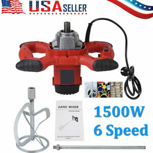 Electric Mortar Mixer 1500w Handheld 6 Speed Paint Cement Grout Ac 110v