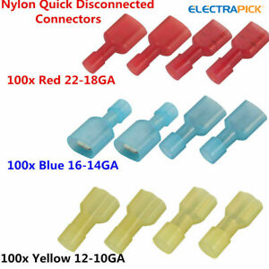 300x Insulated Electrical Crimp Wire Connectors Terminals Spade Male Female Kit