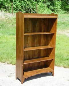 Vintage Solid Oak Bookcase Open Shelving Unit Display Cabinet Bookshelf