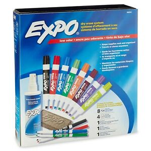 Expo Low Odor Dry Erase Marker Eraser And Cleaner Set Assorted Colors 12 Ct