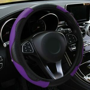 Black Purple Carbon Fiber Style Leather Car Steering Wheel Cover Protect 37 38cm
