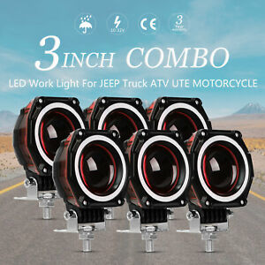 6x 3inch 35w Round Cree Led Work Light Pod Spot Driving Lamp Red Drl Offroad 4wd