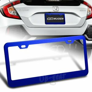Us Size Blue Aluminum Alloy Car License Plate Frame Cover Front Or Rear 1pc