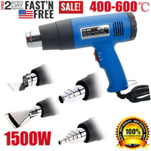 1500w Heat Gun Hot Air Wind Blower Dual Temperature With 4 Nozzles Power Heater