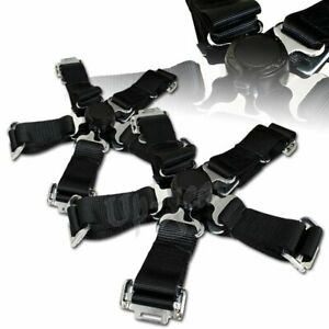 Universal Black 2 Duty Nylon Jdm 5 Point Cam Lock Safety Harness Seat Belt 2pcs