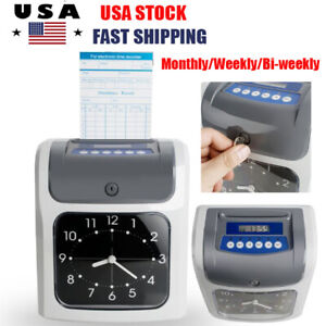 Electronic Employee Attendance Punch Payroll Recorder Time Clock Monthly Weekly