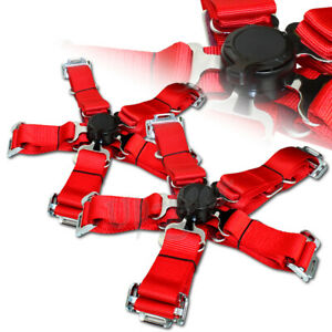 Universal Red 2 Duty Nylon Jdm 5 Point Cam Lock Safety Harness Seat Belt 2pcs
