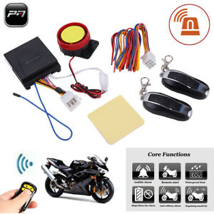 Motorcycle Scooter Security Alarm System Remote Control Anti theft Engine Start
