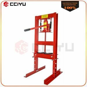 Red High Quality 6 Ton H frame Shop Press Hydraulic Jack Stand Plates Manual Diy