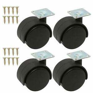 4pcs Furniture Casters 2 Inch Twin Wheel With Plate Swivel Caster set Of 4 2