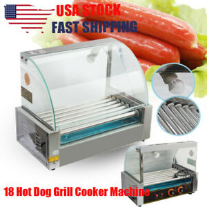 Electric Commercial 18 Hot Dog Grill Cooker Machine 7 Roller Cover 1200w 110v