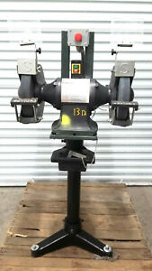 Dayton 1fyx2 Double Bench Grinder 12 In 12hp Mounted On Pedestal Stand