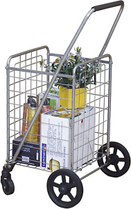 Folding Shopping Cart With Metal Basket And Rolling Swivel Wheels Lightweight