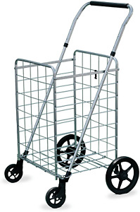 Folding Shopping Cart With Swivel Wheels Adjustable Handle Height Lightweight