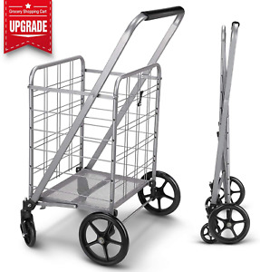 Folding Shopping Cart With 360 Rolling Swivel Wheels Heavy Duty