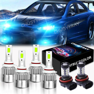 6 blue Led Hi lo Beam Front Fog Light Bulb Combo For Mitsubishi Lancer 2008 17