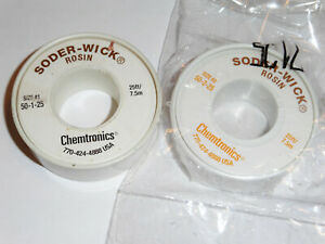 Lot Of 2 25 25 Ft Spools Chemtronics Solder Wick 50 1 25 And 50 2 25 7 5m