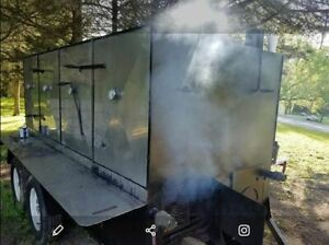Big Reverse Flow Open Barbeque Smoker On A Trailer Bbq Tailgating Trailer For