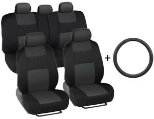 Car Seat Covers Front rear Leather Steering Wheel Cover Universal Gray