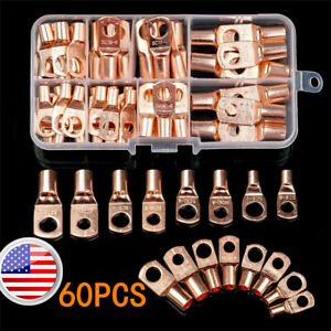 Us 60pcs Battery Bare Copper Ring Lug Terminals Connector Wire Gauge Sc6 25 Kit