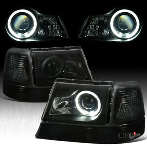 Black Smoke For 1998 2000 Ford Ranger Halo Projector Headlights corner Signal