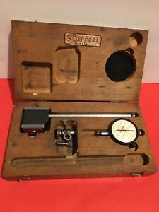 Starrett No 657 Magnetic Base With No 25 141 Dial Indicator Inside Wood Box