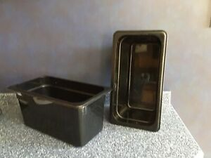 Container black Cambro Food Storage Rectangular Bins Containers Set Of 10 Used