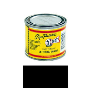 1 Shot 199l 4oz Black Lettering Enamel Brush Pinstriping One Shot Paint