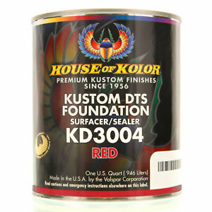 1 Quart Red Color Kd3004 House Of Kolor Dts Auto Surfacer Sealer Epoxy Primer